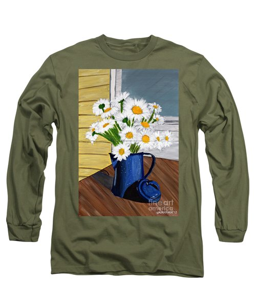 Flowers In A Teapot Long Sleeve T-Shirt by Laura Forde