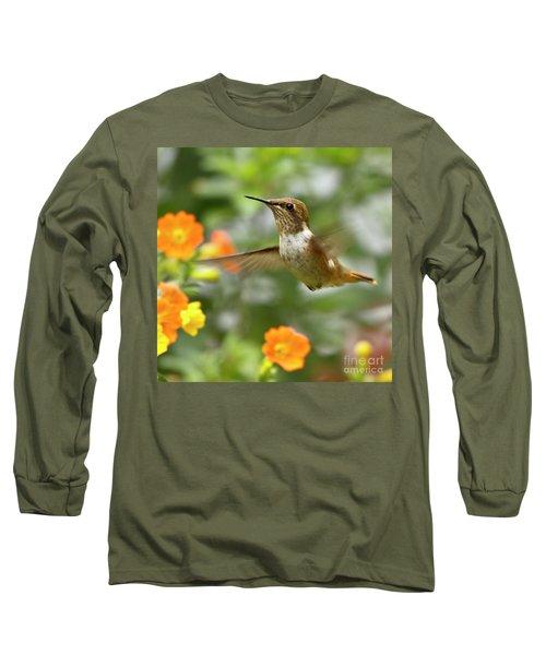 Flying Scintillant Hummingbird Long Sleeve T-Shirt