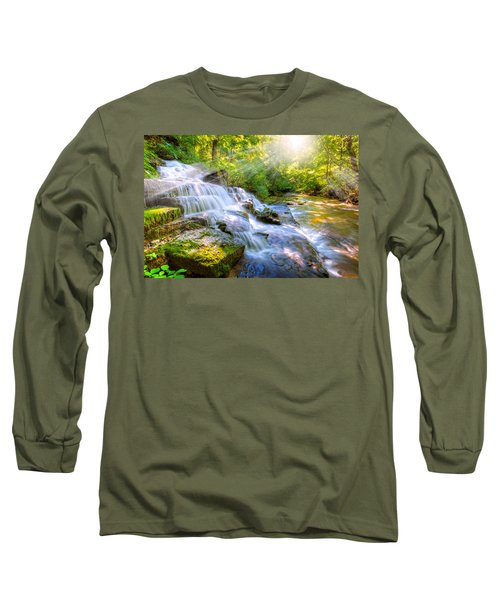 Forest Stream And Waterfall Long Sleeve T-Shirt