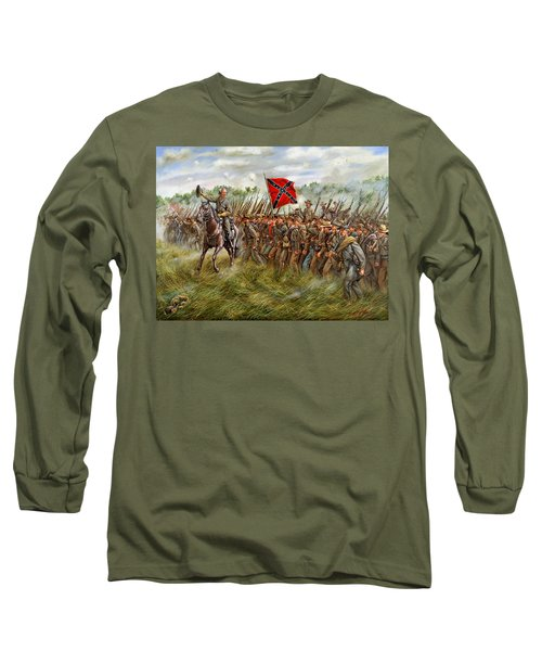 Forward To The Foe - The Charge Of General William Barksdale's Mississippi Brigade At Gettysburg Long Sleeve T-Shirt