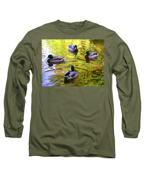 Four Ducks On Pond Long Sleeve T-Shirt