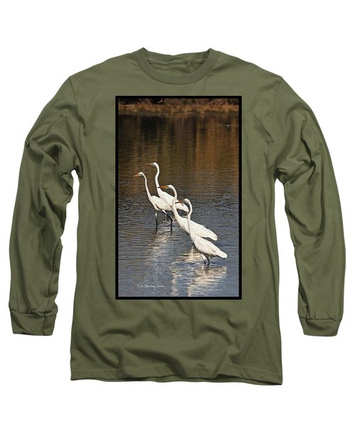 Four Egrets Fishing Long Sleeve T-Shirt by Tom Janca
