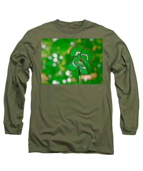 Four Leaf Clover Long Sleeve T-Shirt by Ludwig Keck