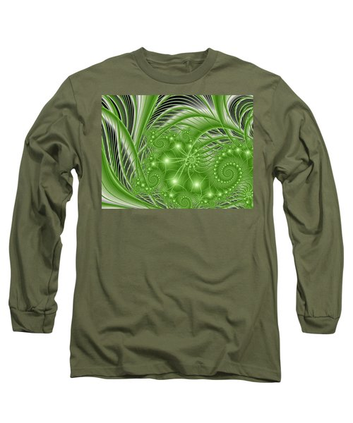 Fractal Abstract Green Nature Long Sleeve T-Shirt