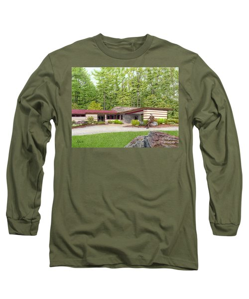 Long Sleeve T-Shirt featuring the painting Frank Lloyd Wright At Duncan House by Albert Puskaric