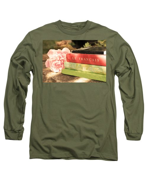 Long Sleeve T-Shirt featuring the photograph French Books And Peony by Brooke T Ryan