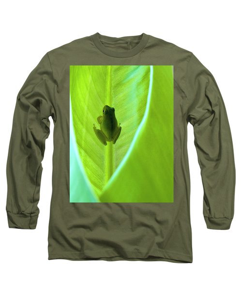 Long Sleeve T-Shirt featuring the photograph Frog In Blankie by Faith Williams