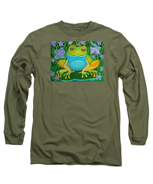 Frog On A Lily Pad Long Sleeve T-Shirt by Nick Gustafson