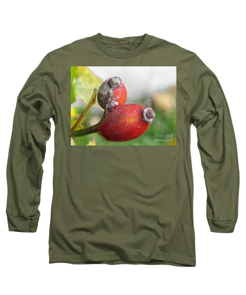 Long Sleeve T-Shirt featuring the photograph Frosted Rosehips by Nina Silver