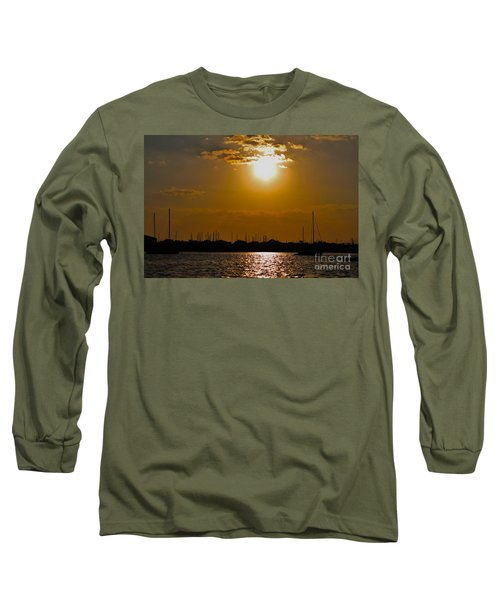 Long Sleeve T-Shirt featuring the photograph Ft. Pierce Florida Docks At Dusk by Janice Rae Pariza