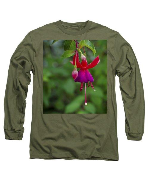 Fuschia Flower Long Sleeve T-Shirt by Ron White