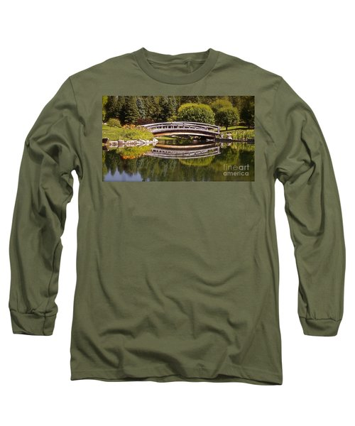 Garden Bridge Long Sleeve T-Shirt by Linda Bianic