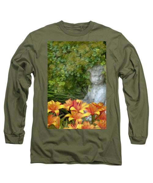 Long Sleeve T-Shirt featuring the photograph Garden Girl And Orange Lilies Digital Watercolor by Sandra Foster
