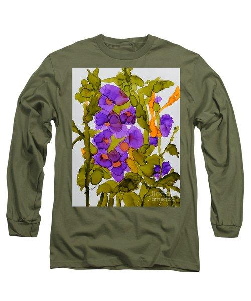 Garden Of Hollyhocks Long Sleeve T-Shirt by Vicki  Housel