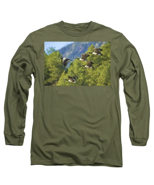 Geese On A Mission Long Sleeve T-Shirt