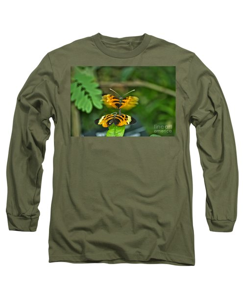 Long Sleeve T-Shirt featuring the photograph Gentle Butterfly Courtship 03 by Thomas Woolworth