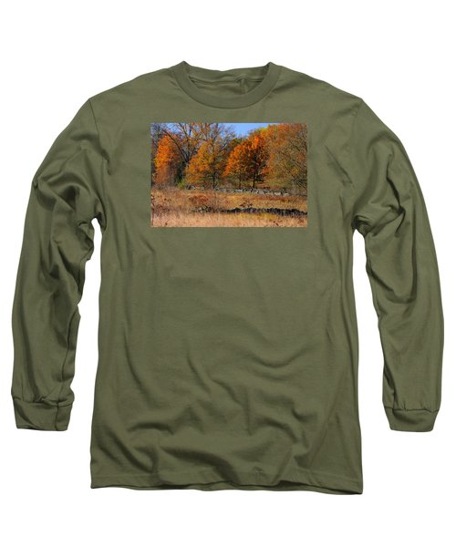 Long Sleeve T-Shirt featuring the photograph Gettysburg At Rest - Autumn Looking Towards The J. Weikert Farm by Michael Mazaika