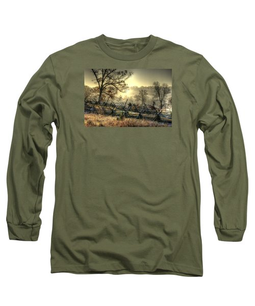 Long Sleeve T-Shirt featuring the photograph Gettysburg At Rest - Sunrise Over Northern Portion Of Little Round Top by Michael Mazaika