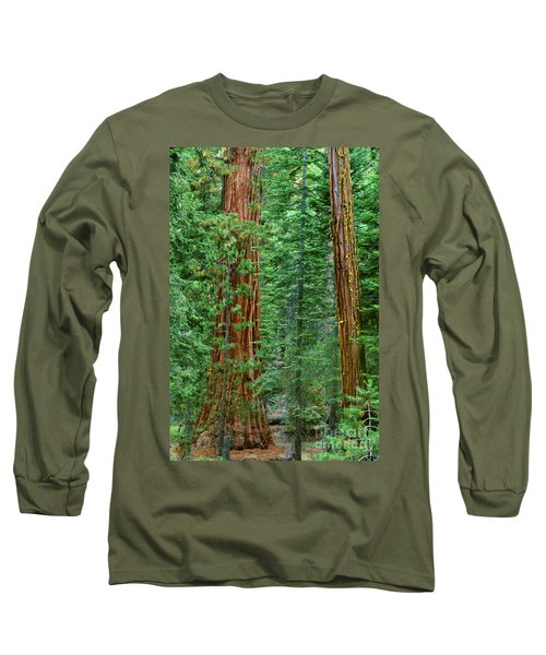Giant Sequoias Sequoiadendron Gigantium Yosemite Np Ca Long Sleeve T-Shirt by Dave Welling