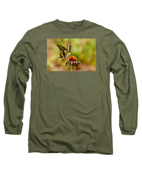 Giant Swallowtail Butterfly Long Sleeve T-Shirt by Kathy Baccari