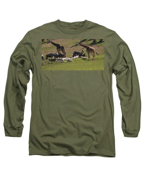 Giraffes And Wildebeest African Safari Long Sleeve T-Shirt