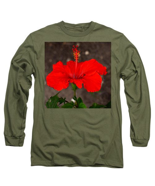 Glowing Red Hibiscus Long Sleeve T-Shirt
