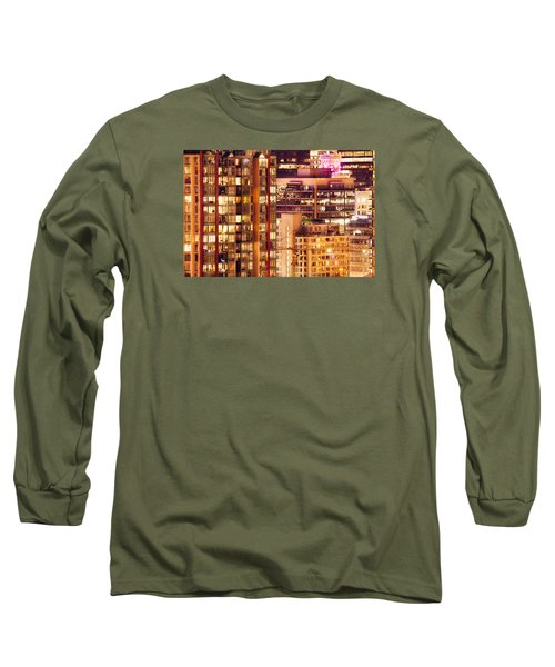 Long Sleeve T-Shirt featuring the photograph City Of Vancouver - Golden City Of Lights Cdlxxxvii by Amyn Nasser