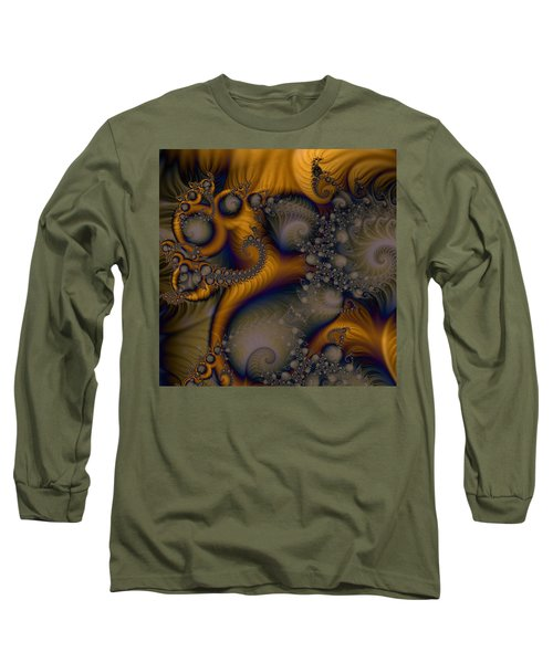 Golden Dream Of Fossils Long Sleeve T-Shirt by Elizabeth McTaggart