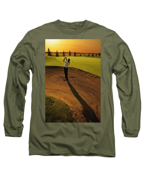 Golfer Taking A Swing From A Golf Bunker Long Sleeve T-Shirt