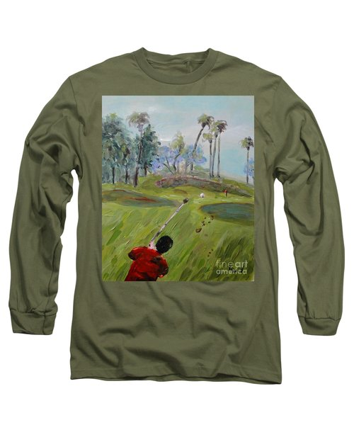 Long Sleeve T-Shirt featuring the painting Golfing At Monarch by Maria Langgle