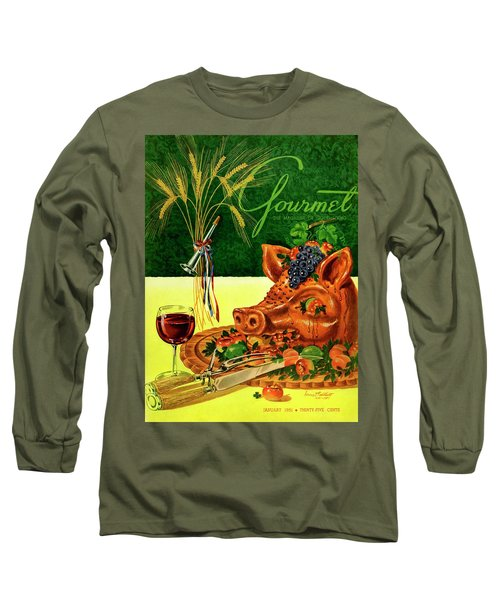 Gourmet Cover Featuring A Pig's Head On A Platter Long Sleeve T-Shirt