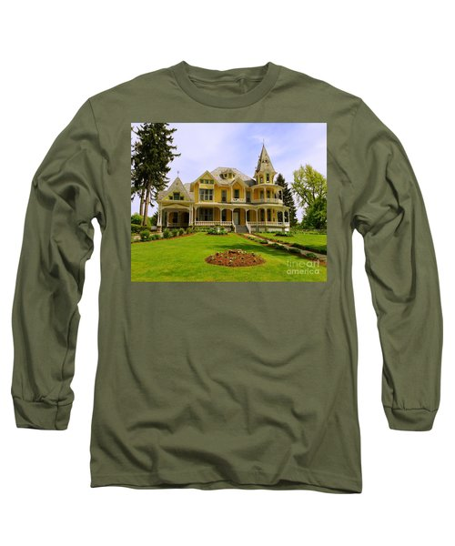 Long Sleeve T-Shirt featuring the photograph Grand Yellow Victorian by Becky Lupe