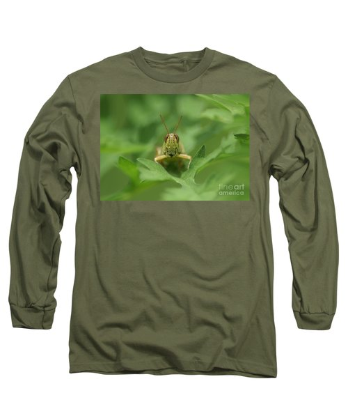 Long Sleeve T-Shirt featuring the photograph Grasshopper Portrait by Olga Hamilton