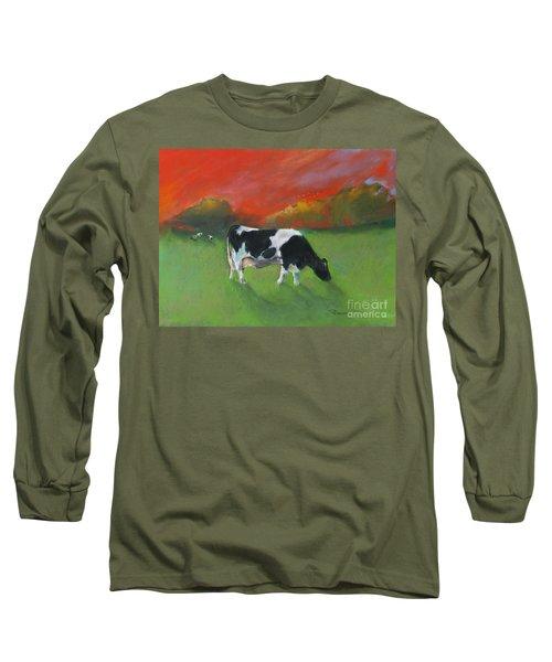 Grazing Cow Long Sleeve T-Shirt by Robin Maria Pedrero