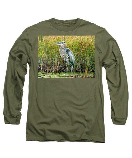 Great Blue Heron Waiting For Supper Long Sleeve T-Shirt