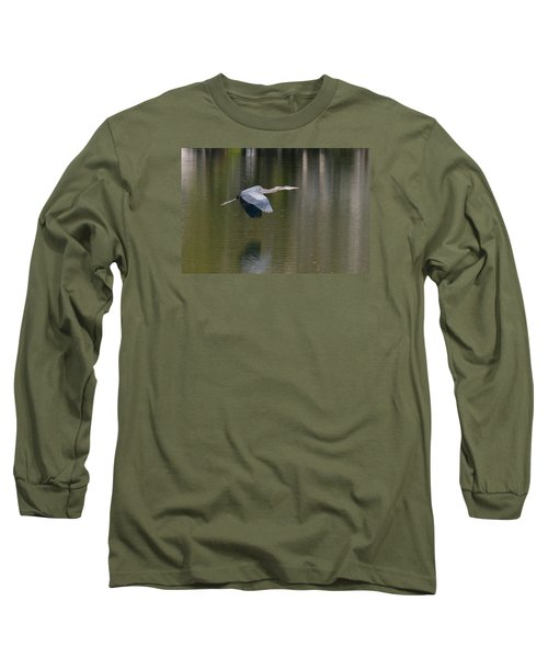 Long Sleeve T-Shirt featuring the photograph Great Blue Over Green by Paul Rebmann