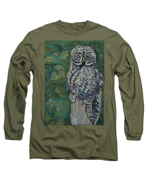 Great Gray Long Sleeve T-Shirt by Phil Chadwick