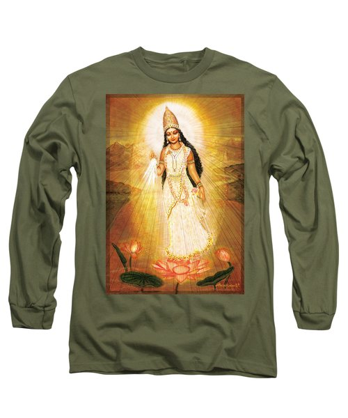 Great Mother Goddess Long Sleeve T-Shirt by Ananda Vdovic