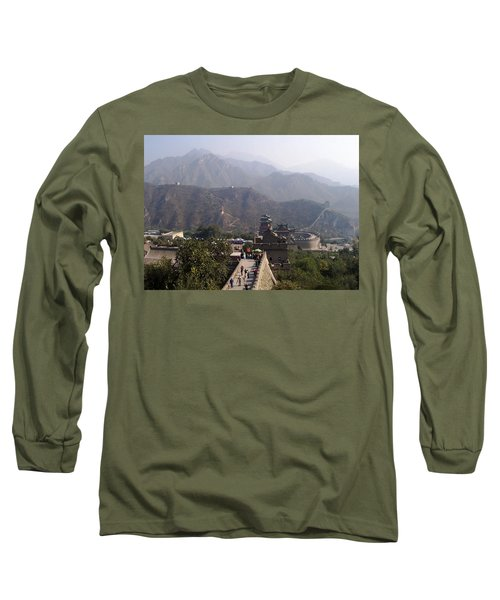 Great Wall Of China At Badaling Long Sleeve T-Shirt by Debbie Oppermann