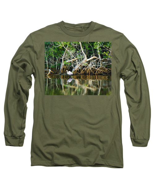 Great White Egret And Reflection In Swamp Mangroves Long Sleeve T-Shirt