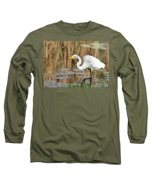 Great White Egret By The River Long Sleeve T-Shirt