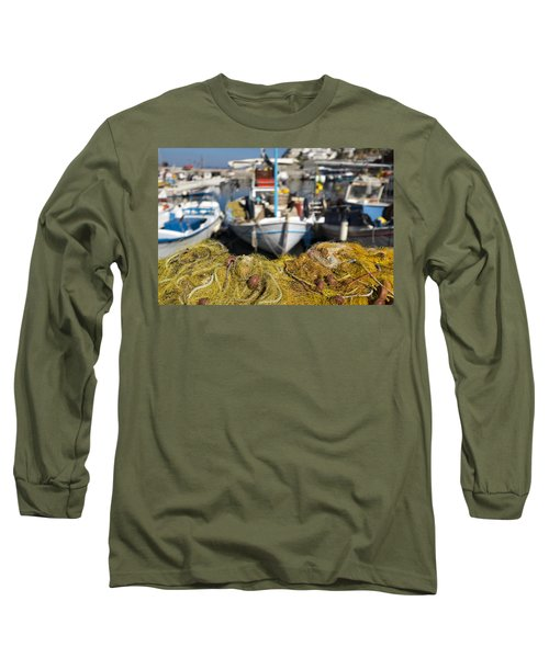 Greek Fishing Harbour Long Sleeve T-Shirt by Mike Santis