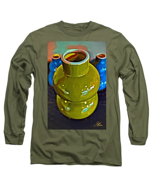 Long Sleeve T-Shirt featuring the painting Green  Blue Vases by Joan Reese