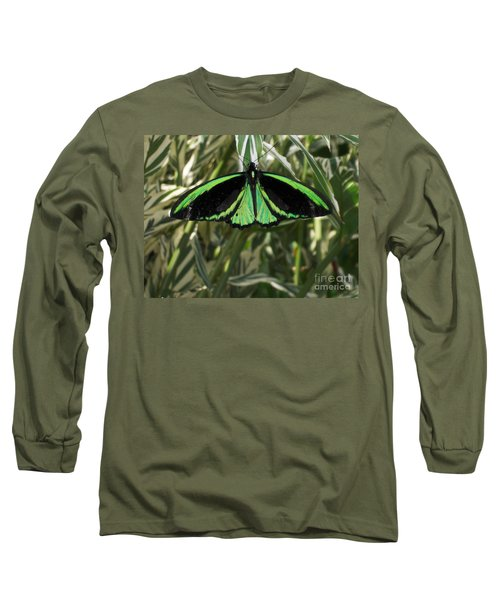 Long Sleeve T-Shirt featuring the photograph Green Butterfly by Brenda Brown