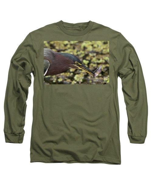 Green Heron Fishing Long Sleeve T-Shirt