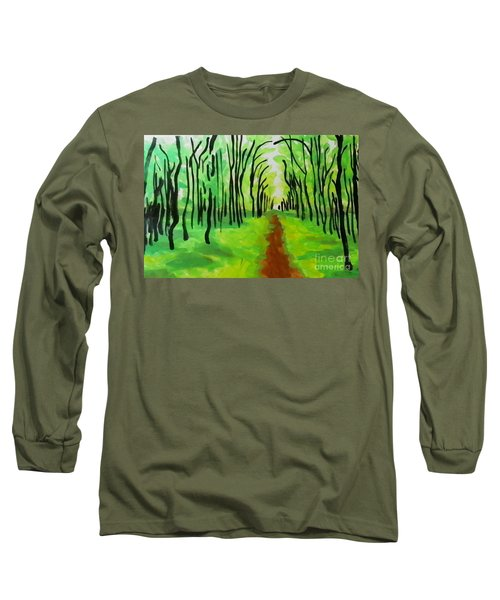 Long Sleeve T-Shirt featuring the painting Green Leaves by Marisela Mungia