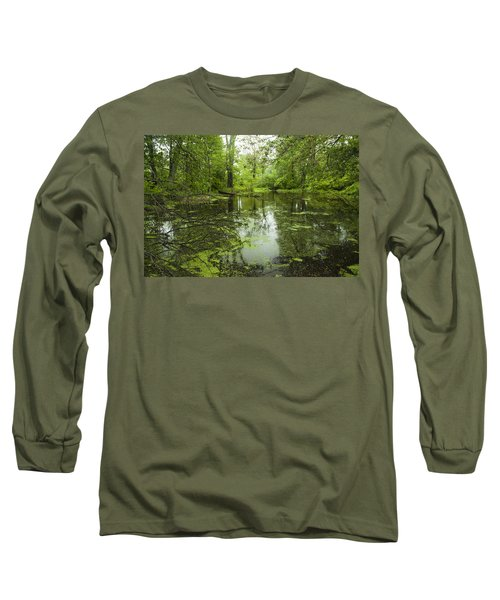 Green Blossoms On Pond Long Sleeve T-Shirt by Jerry Cowart