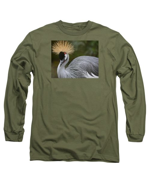 Grey Crowned Crane Long Sleeve T-Shirt by Venetia Featherstone-Witty