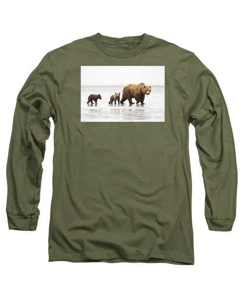 Grizzly Bear Mother And Cubs Lake Clark Long Sleeve T-Shirt