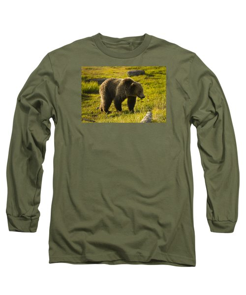 Grizzly Bear-signed-#4477 Long Sleeve T-Shirt by J L Woody Wooden